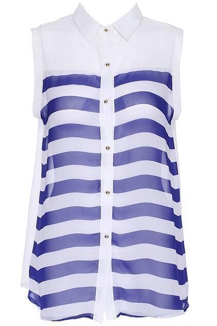 ROMWE Blue Striped Print Sleeveless Shirt