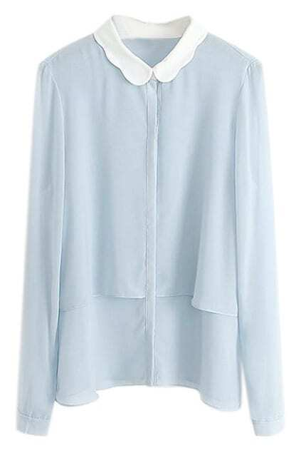 ROMWE Doll Collar Double Layered Loose Shirt
