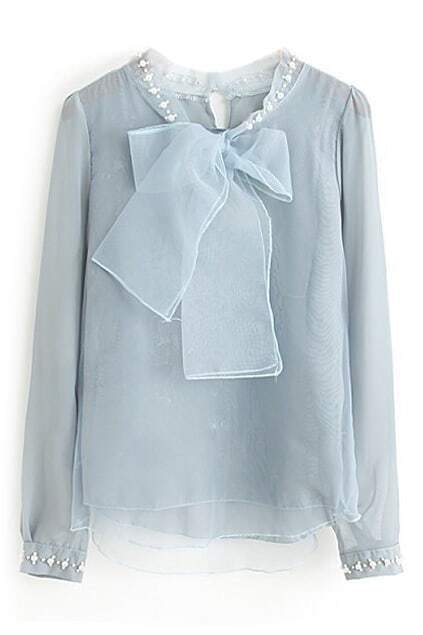 ROMWE Bowknot Beaded Blue Blouse