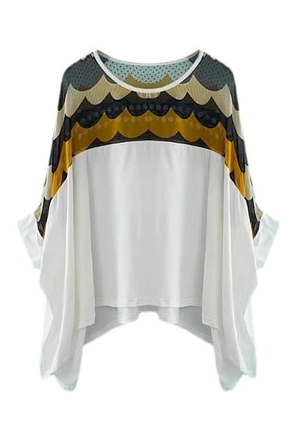 ROMWE Asymmetric Wave Print Half Sleeves Loose Blouse