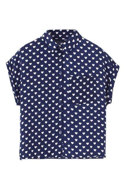 ROMWE Batwing Sleeves Hearts Print Rolled-cuffs Blue Shirt