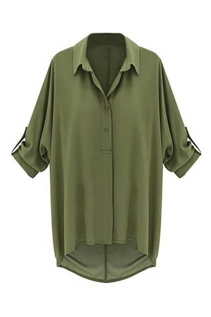 ROMWE POLO Cropped Sleeves Loose Army Green Blouse