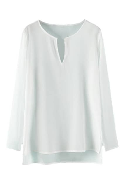 ROMWE Asymmetric Split Long Sleeved Sheer White Blouse