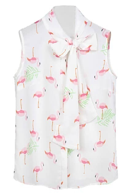 ROMWE Red-crowned Crane Print Self-tied Sleeveless Shirt