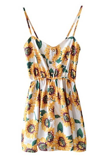 ROMWE Sunflowers Print Elastic Waistband Strap Dress