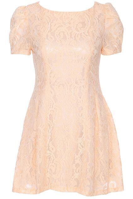 ROMWE Orange Short-sleeved Lace Dress