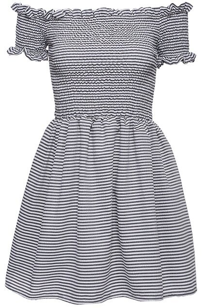 ROMWE Striped Print Pleated Black Short-sleeved Dress