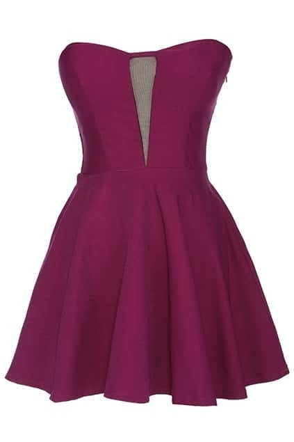 ROMWE Off Shoulder Purple Bandeau Dress