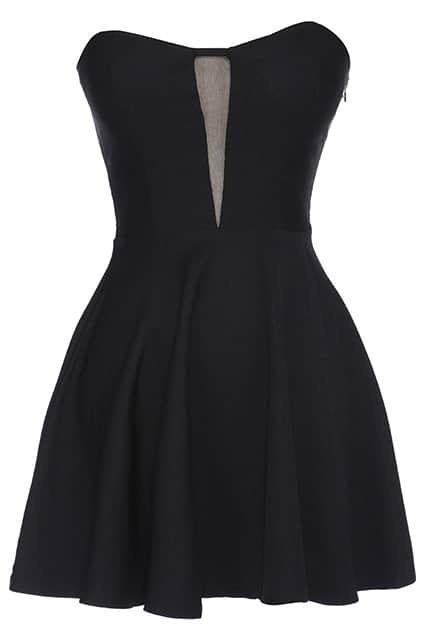 ROMWE Off Shoulder Black Bandeau Dress