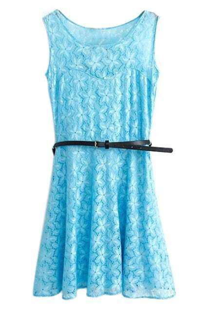 ROMWE Lace Floral Belted Sleeveless Light-blue Dress