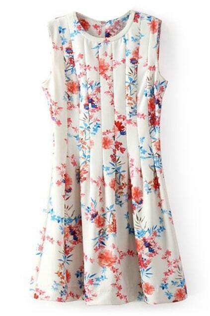 ROMWE Floral Print Pleated Dress