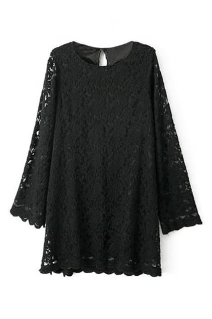 ROMWE Lace Crochet Lined Sheer Black Dress
