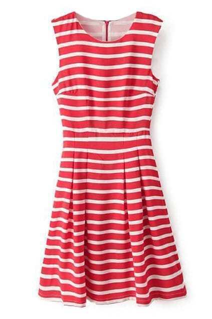 ROMWE Striped Pleated Sleeveless Zippered Red Dress