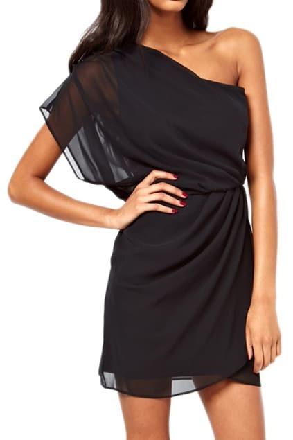 ROMWE Asymmetric Pleated Elastic Black single shoulder Dress