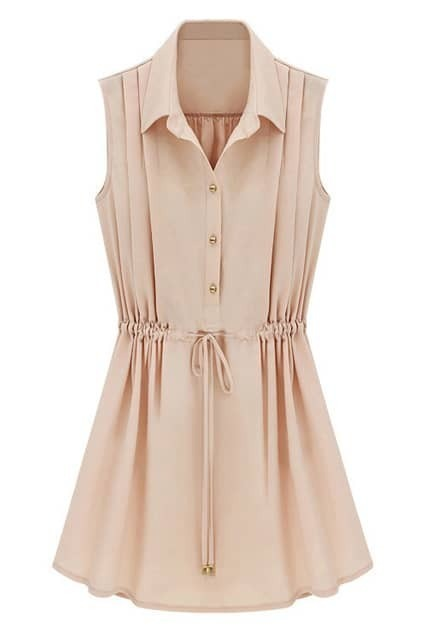 ROMWE Self-tied Drawstring Pleated Slim Pink Dress