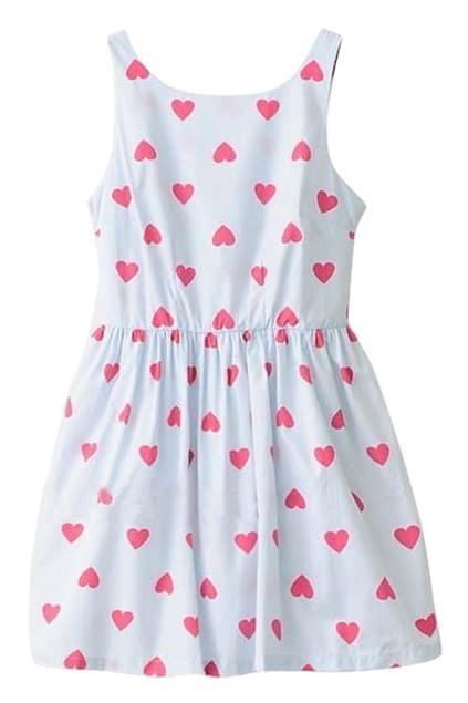 ROMWE Hearts Backless Pleated Slim Print Dress