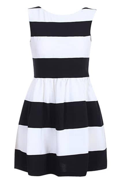 ROMWE Color Block Flared Sleeveless Slim Dress