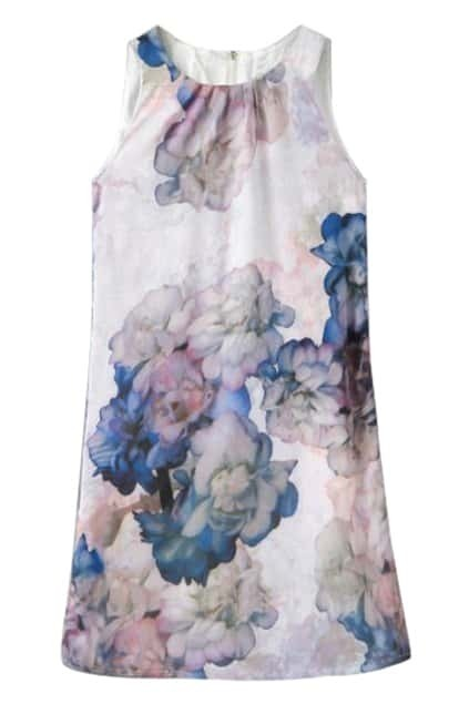 ROMWE Floral Print Zippered Sleeveless Shift Dress