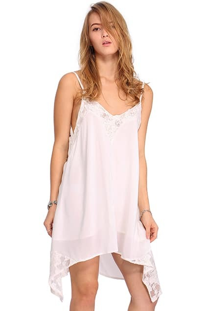 ROME Lace Panel Strapped Shoulder White Dress