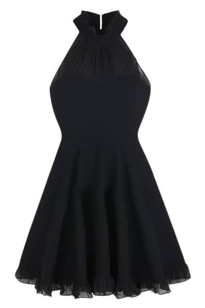 ROMWE Mesh Panel Black Halter Dress