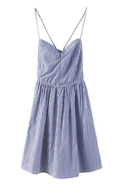 ROMWE Strapped Pleated Slim Striped Dress
