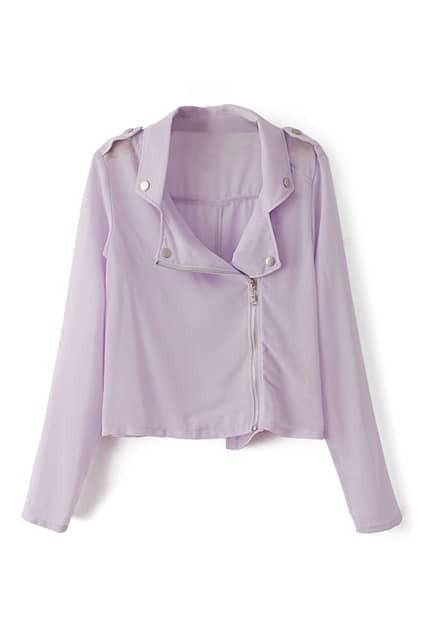 ROMWE Lapel Zippered Chffon Sheer Purple Coat