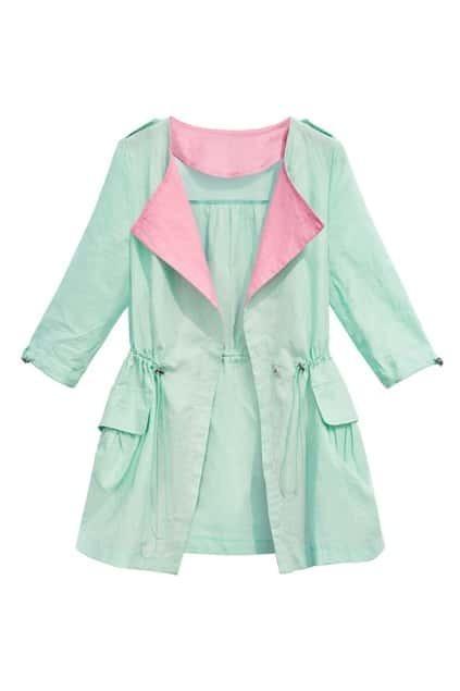 ROMWE Color Block Drawstring Loose Light-green Coat