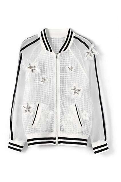 ROMWE Transparent Check Beaded Stars Embroidered White Coat
