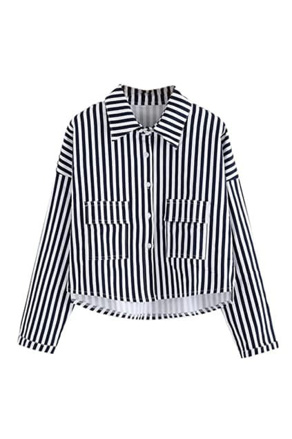 ROMWE Striped Asymmetric Loose Coat