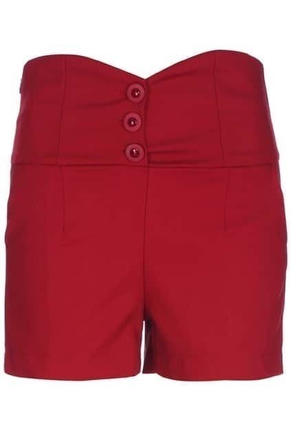 ROMWE Buttoned Red Shorts
