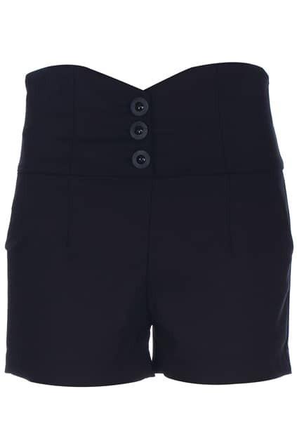 ROMWE Buttoned Black Shorts