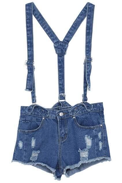 ROMWE Distressed Pocketed Blue Denim Suspender Shorts