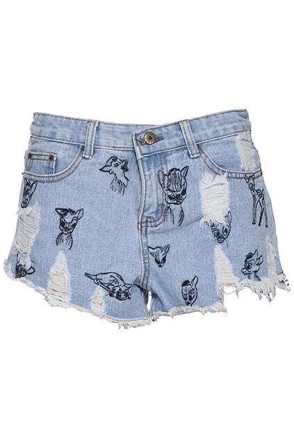 ROMWE Animal Stitching Distressed Blue Denim Shorts