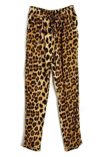 ROMWE Leopard Print Drawstring Pocketed Harem Pants