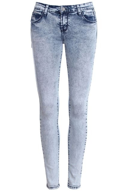 ROMWE Washed Pocketed Skinny Jeans