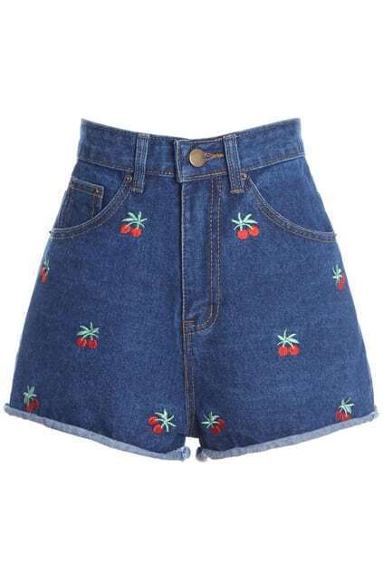 ROMWE Cherry Embroidered Pocketed Blue Shorts