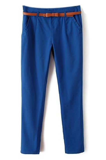 ROMWE Bowknot Belt Casual Blue Pants