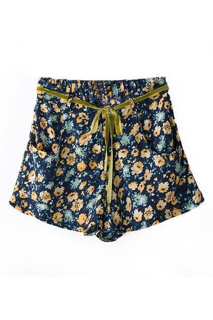 ROMWE Floral Print Self-tied Pleated Shorts