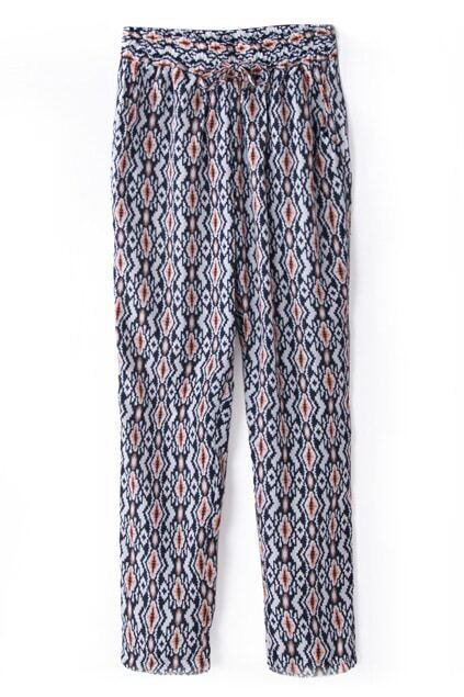 ROMWE Geometric Patterns Print Elastic Pants