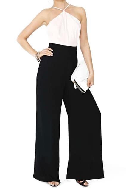 ROMWE Color Block Crossed Straps Cut-out Black Jumpsuit