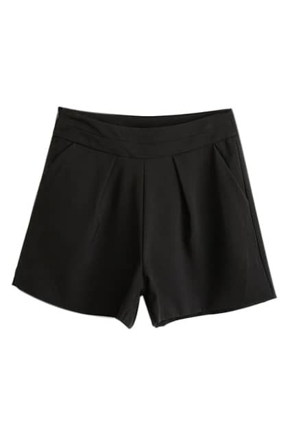 ROWME Elastic Pleated Sheer Black Shorts