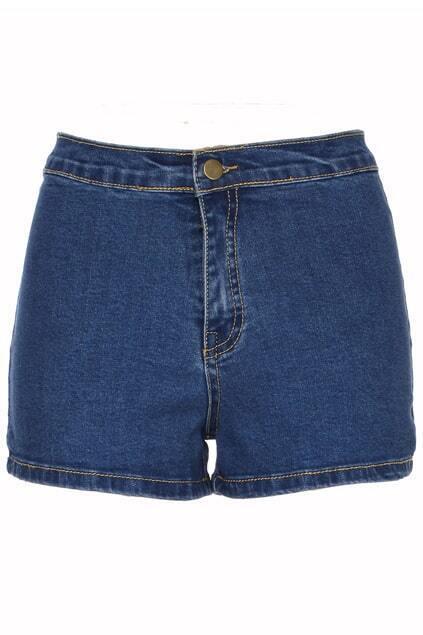 ROMWE High Waist Rolled Dark-blue Denim Shorts