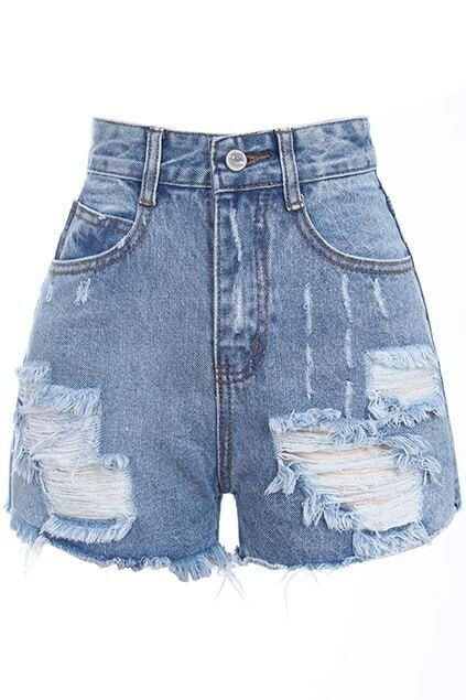 Romwe Retro Fading Destroyed Denim Light-blue Shorts