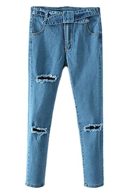 ROMWE High-waisted Distressed Self-tie Jeans