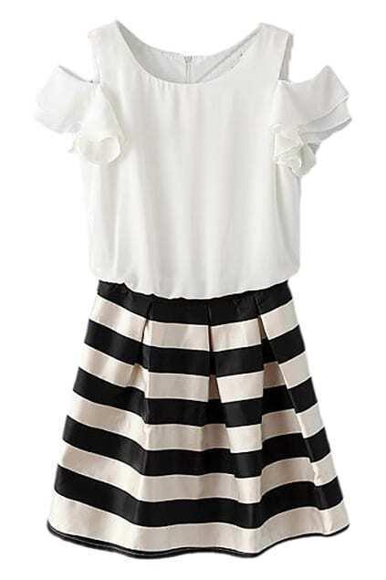 ROMWE Stripe Print Round Neck Off-shoulder Zippered Dress