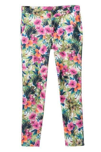 ROMWE Floral Print Pocketed Cropped Pencil Pants