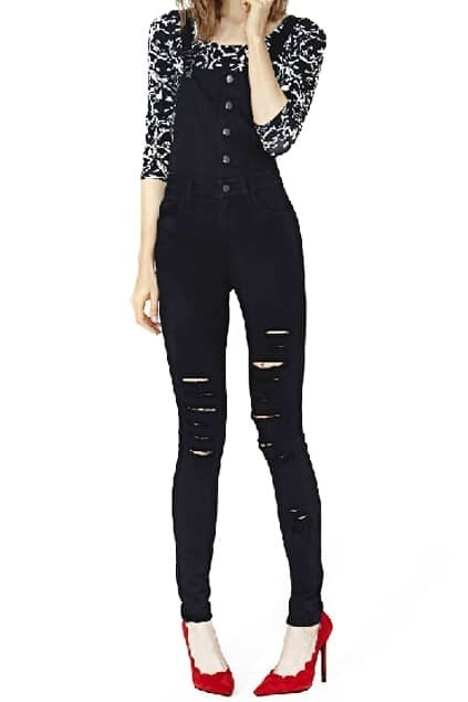 Romwe Buttoned Shredded Black Suspender Pants