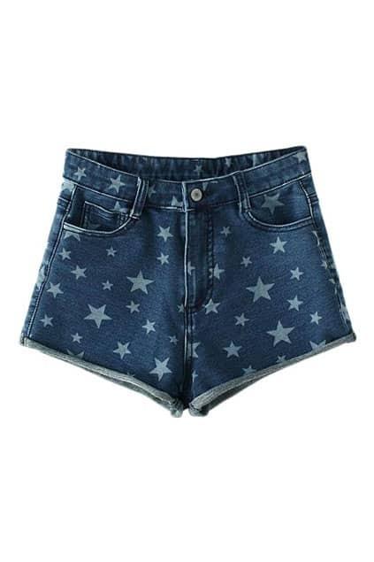 ROMWE Stars Print Dark-blue Denim Shorts