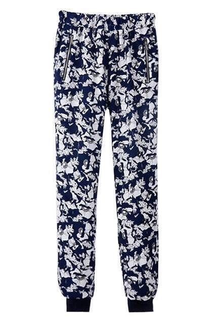 ROMWE Floral Print Zippered Elastic Ribbed Blue Pants