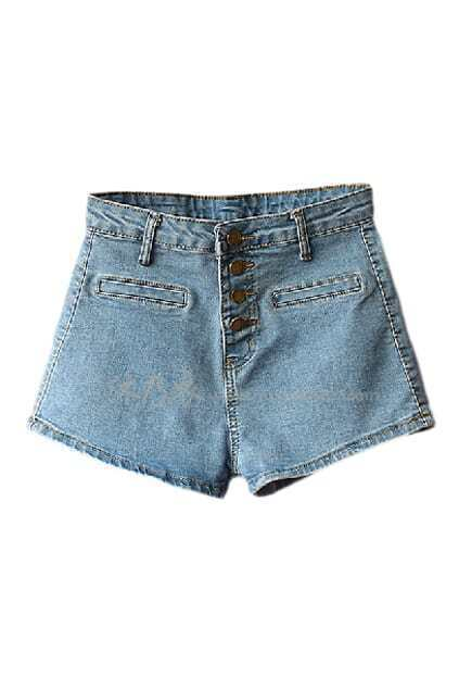 ROMWE Fake Pocketed Buttoned Blue Denim Shorts